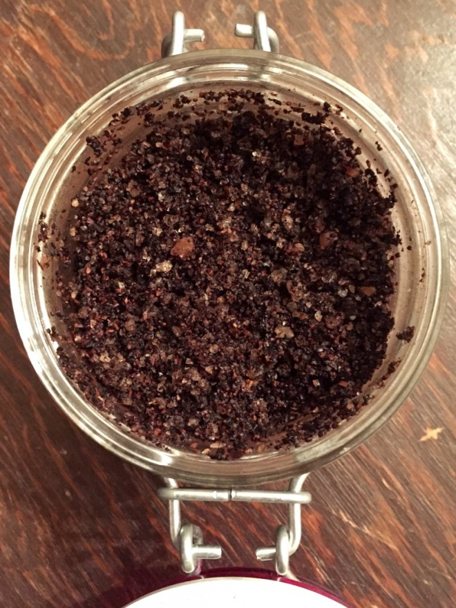 One of my favorite combinations.. coffee grounds, coarse pink salt, and coconut oil.
