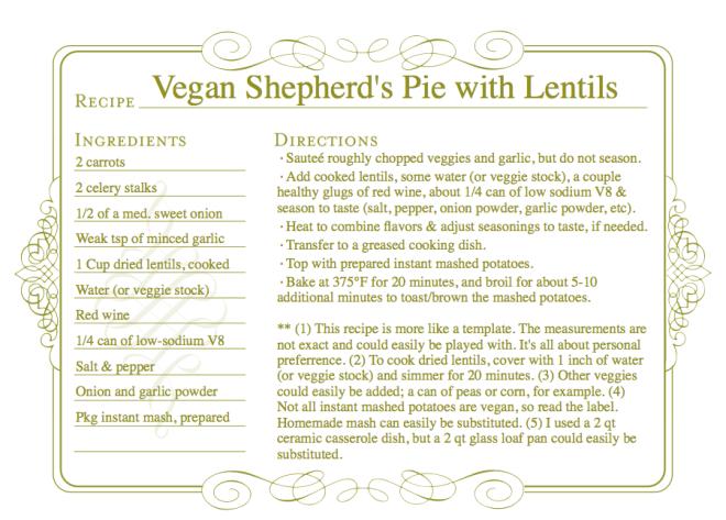 Vegan Sheperd's Pie with Lentils