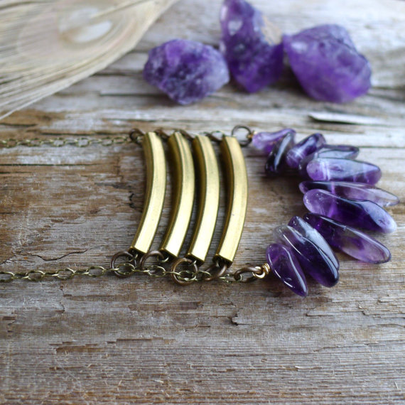 amethyst and gold bars necklace