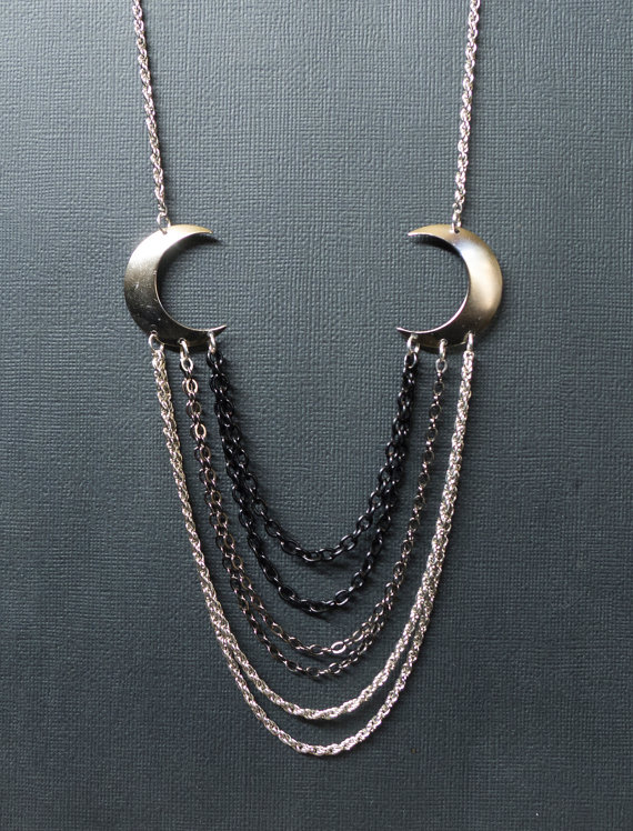 Arrow and Plume - crescent moon and chain necklace (sale)