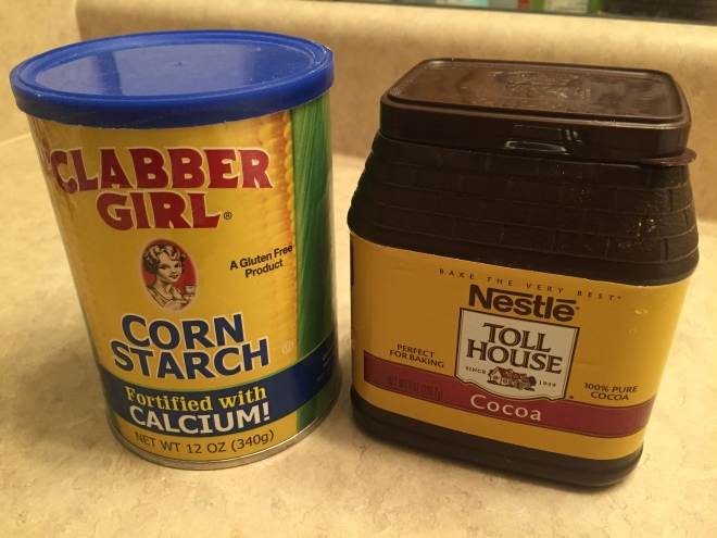 cornstarch and cocoa powder