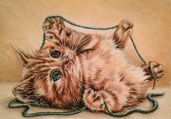 Orange cat with yarn original drawing ($50)