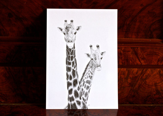 Two Giraffes, graphite pencil ($94.56)