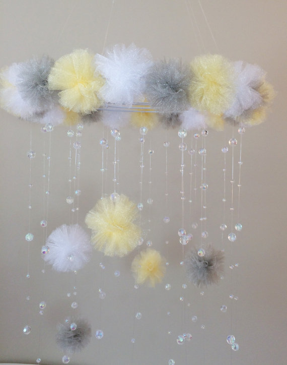 Yellow and Grey mobile with tulle and crystals ($75)