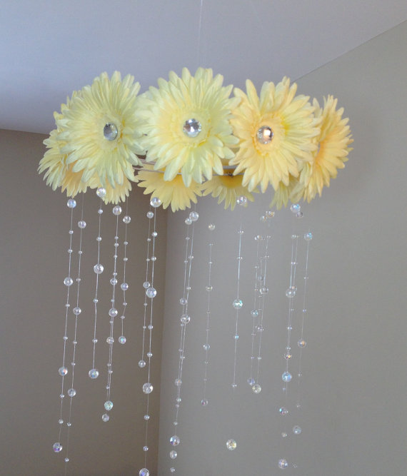 yellow flower crystal mobile