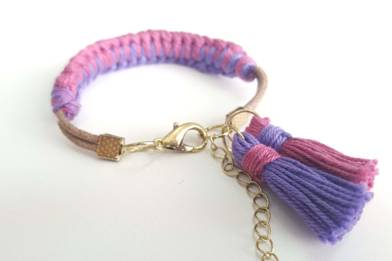 Pink and Purple Knotted Bracelet with Tassels ($7.78)