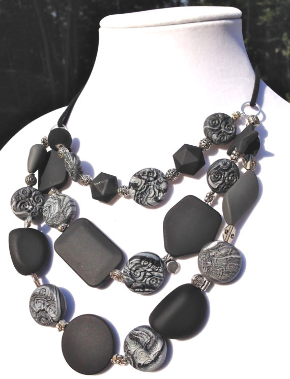 Black and White Multi-Strand Necklace ($36)