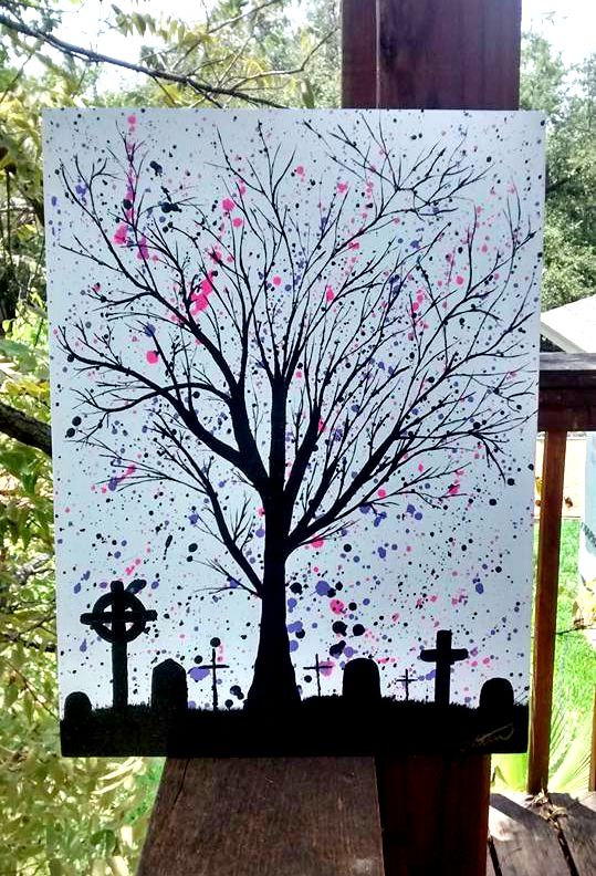 Cemetery with Splatter, original acrylic painting ($)