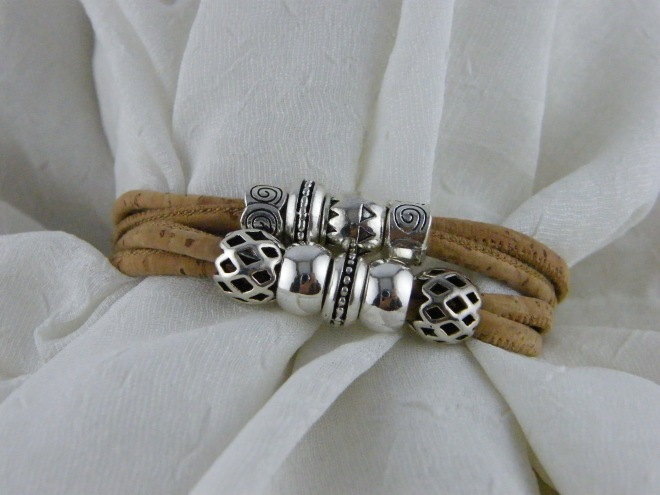 Genuine Portuguese Cork and Silver Beaded Bracelet ($16.86)