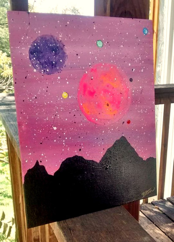 Planets with Mountain Range Silhouette original acrylic painting ($75)
