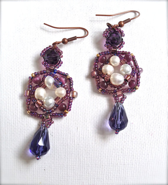 Purple and Peal Beaded Earrings ($23)