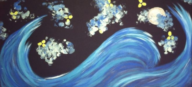 Tidal Wave, 4x7 wall painting ($17.99)