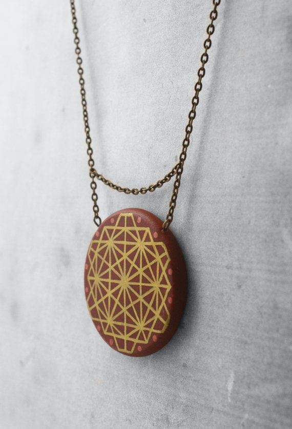 brown mandala necklace
