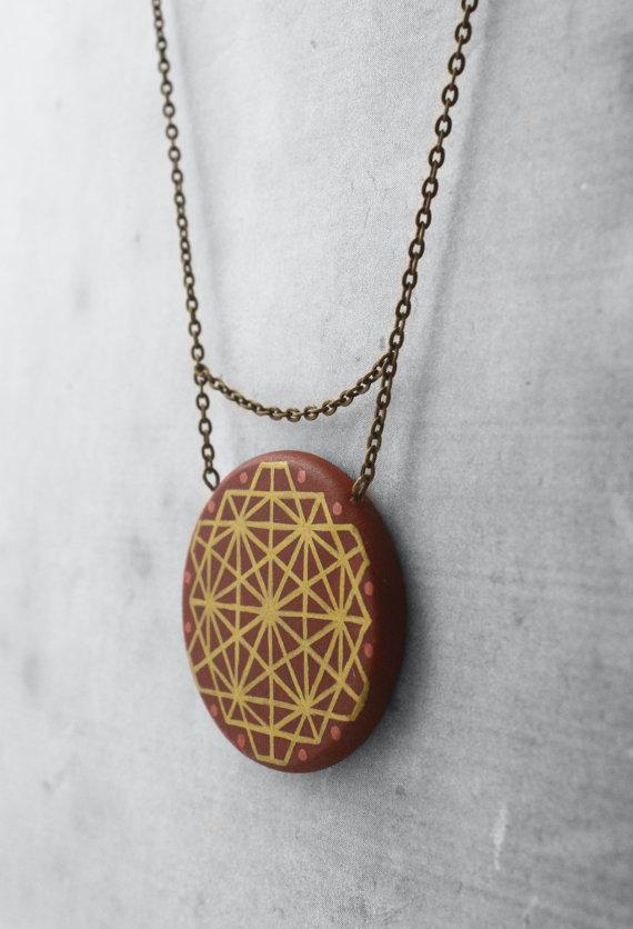 brown mandala necklace